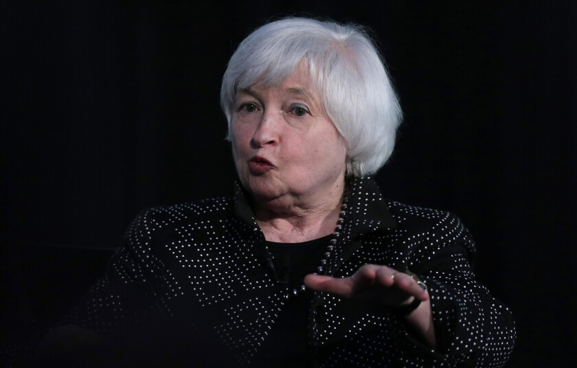 Federal Reserve Chairwoman Janet L. Yellen speaks during an event at Harvard University