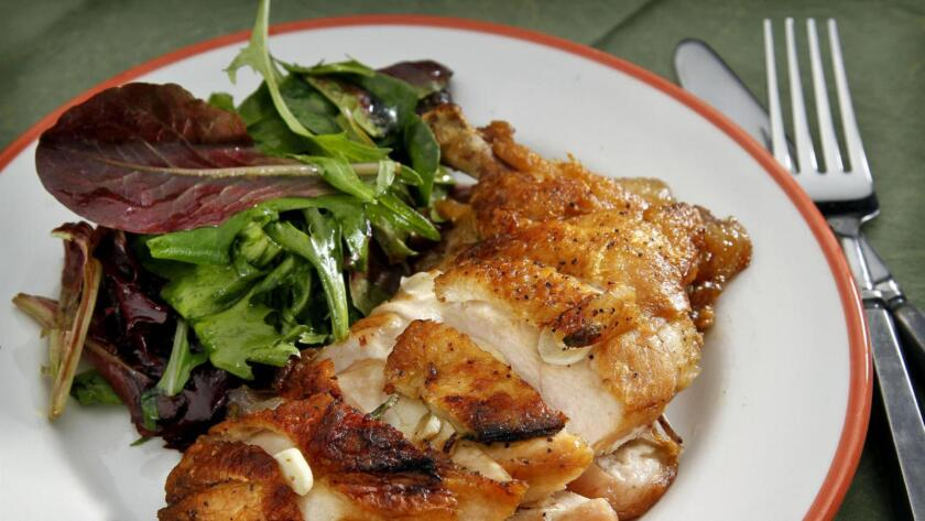 Campanile's crispy flattened chicken, a recipe from chef Mark Peel.