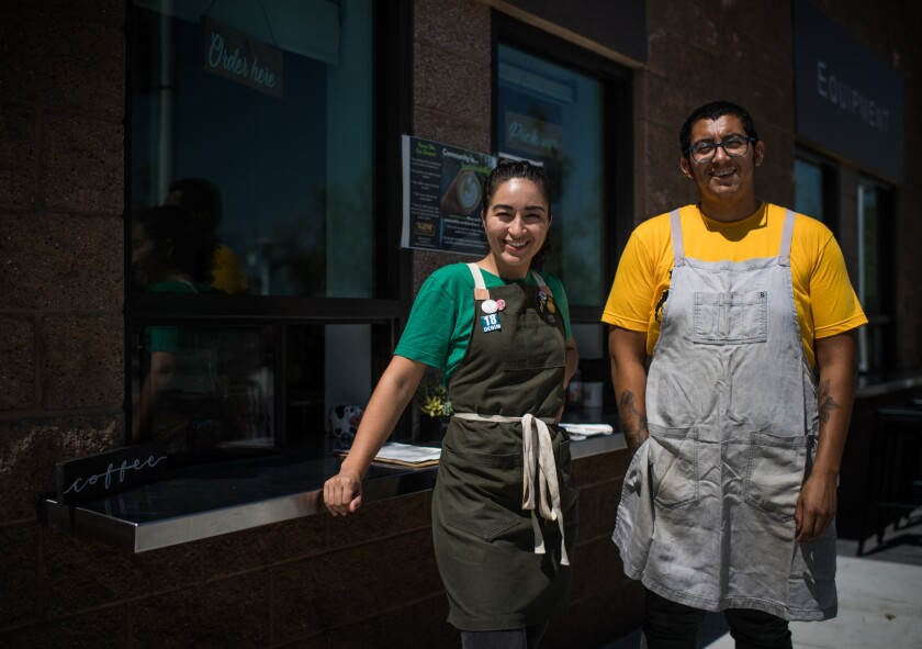 Kateri Gutierrez and Jonathan Robles' coffee shop in Lynwood does more than serve coffee.