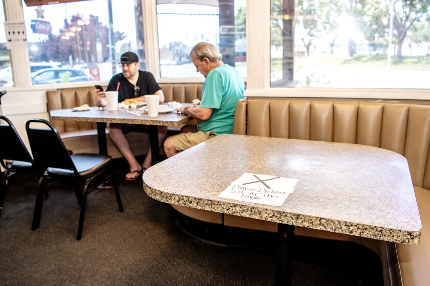 Inside Mossman's on May 21, the day Kern County lifted its ban on in-person dining.