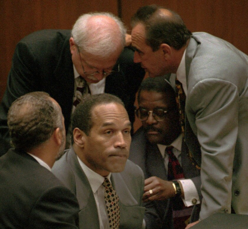 OJ Simpson and his attorneys in court in 1995