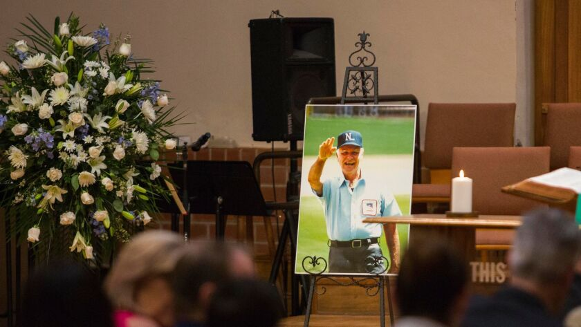 Hall of Fame umpire Doug Harvey, who died Jan. 13 at 87, was lauded for his professionalism and wit during a service Saturday at the First Presbyterian Church in El Cajon.
