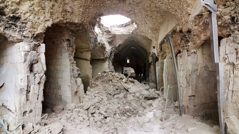 The ruins of one of the ancient marketplaces in the Old City of Aleppo in December 2016.
