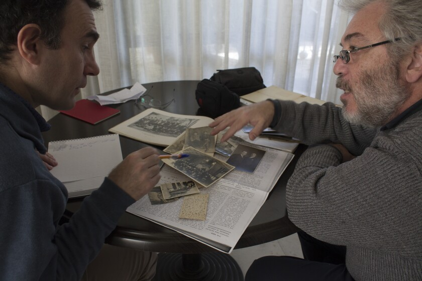 Vahé Tachjian, left, interviews Ricardo Yerganian