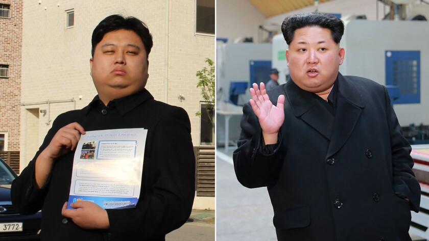Left: Kim Minyong, 25, dressed as North Korean leader Kim Jong Un, with promotional fliers for his English-language academy in Hwaseong, South Korea, on April 11, 2016. Right: the real Kim Jong Un.