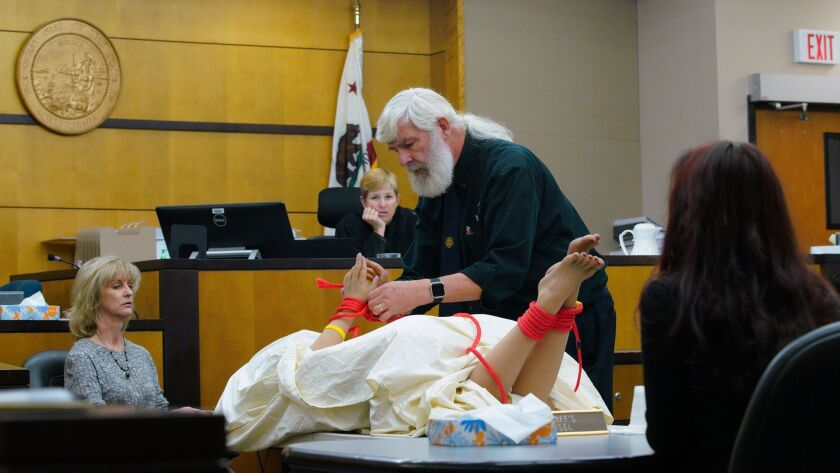 On day-five in the civil trial for the wrongful death of Rebecca Zahau in San Diego Superior Court, Lindsey Philpott, a forensic knot analyst, was asked to replicate on a mannequin the knots found on Zahau's body.