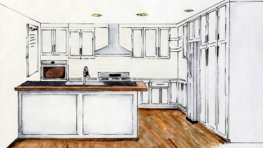 A kitchen design by Stephen Shaw, a recent graduate of the Mesa College interior design program.