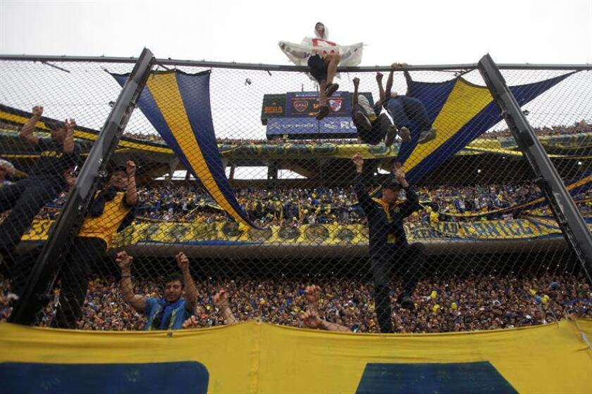 Photo taken on July 11, 2018 (Bogota, Colombia): The rivalry between Argentina's most iconic soccer clubs, Boca Junior and River Plate, remains as intense as ever more than a century after the first official match between the two Buenos Aires sides. EPA/EFE/FILE/Juan Ignacio Roncoroni