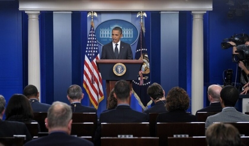 """President Obama delivers a statement on the """"super committee"""" at the White House on Nov. 21, 2011."""