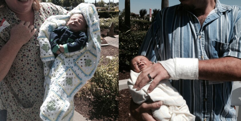 A couple holding two dolls resembling real babies tried to enter a hospital maternity ward in Merced, officials said.