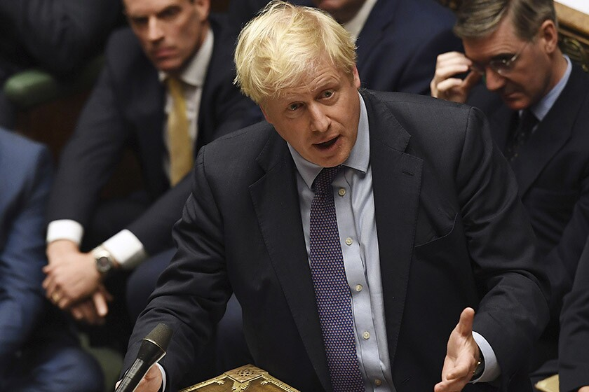 British Prime Minister Boris Johnson speaks in the House of Commons in London on Oct. 22.
