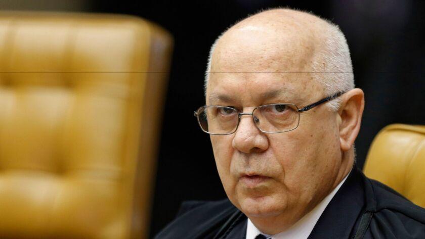 Justice Teori Zavascki attends a session of the Supreme Court in Brasilia, Brazil, in 2015.