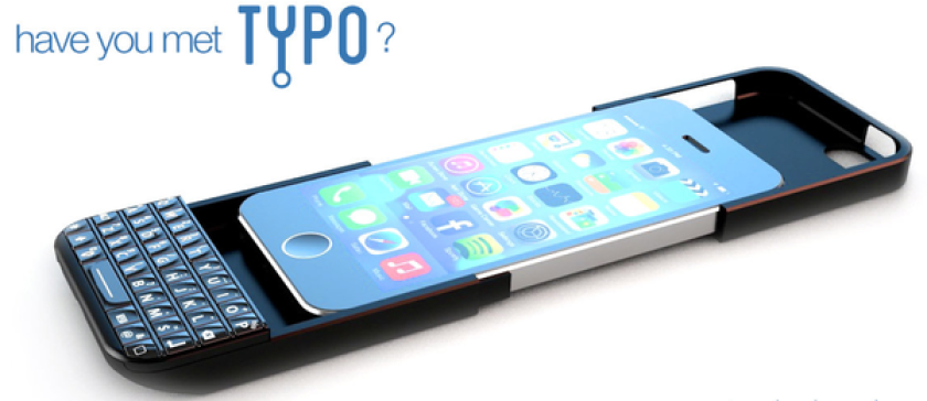 The Typo iPhone case features a physical keyboard.