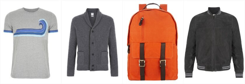 The Gap x GQ Best New Menswear Designers in America collection includes, from left, graphic T-shirts (Aviator Nation, $30), shawl collar cardigans (Baldwin, $68), waxed canvas rucksacks (Ernest Alexander, $108) and suede bomber jackets (Bespoken, $348).