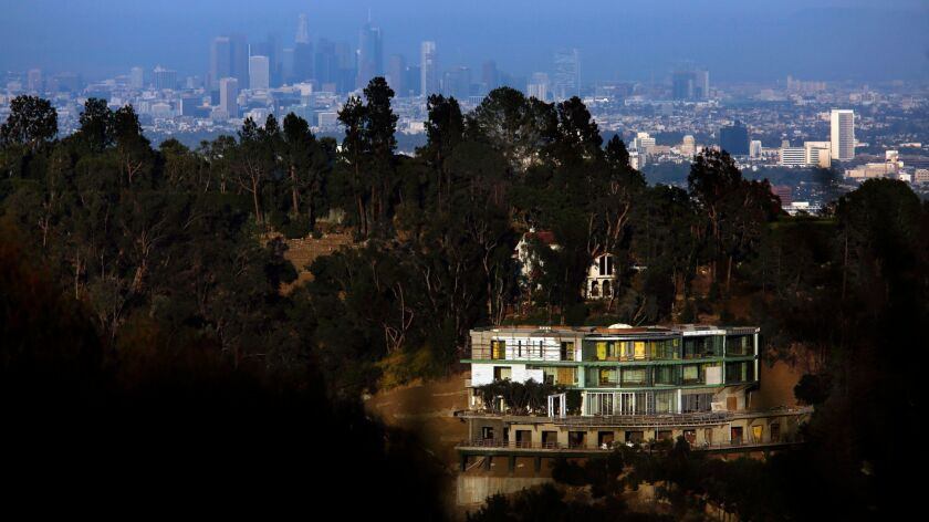 BEL AIR, CA - MAY 23, 2017 - The unfinished mansion at 901 Strada Vecchia Road in Bel Air on May 23,