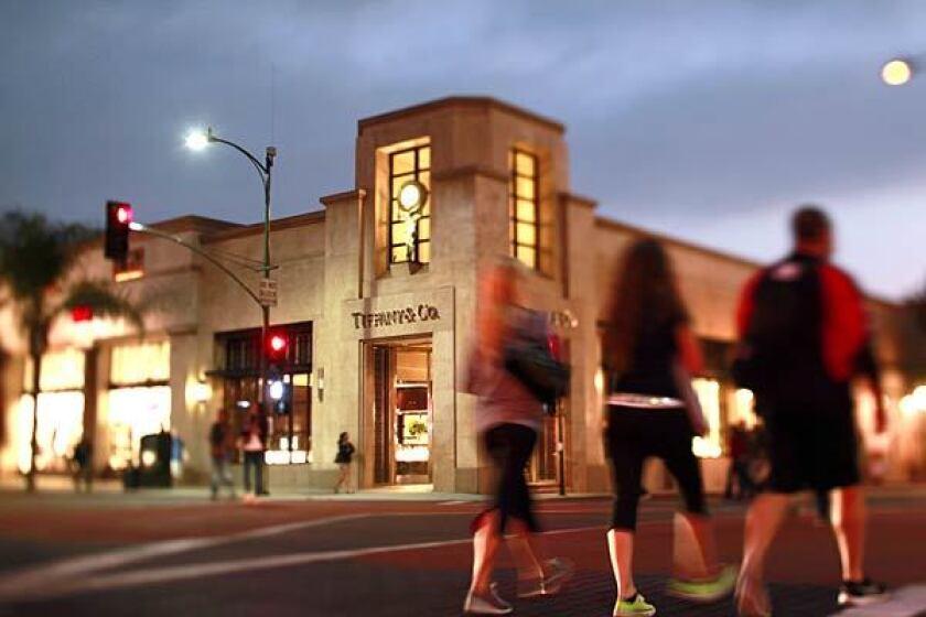 Tiffany & Co. sits along Colorado Boulevard in Old Pasadena.