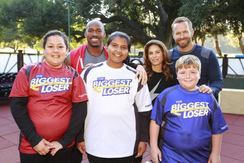 "From left: Lindsay Bravo, 13, Sunny Chandrasekar, 16, and Noah ""Blingo"" Grey, 13, are triggering controversy as they join trainers Dolvett Quince, Jillian Michaels and Bob Harper on Season 14 of ""The Biggest Loser."""