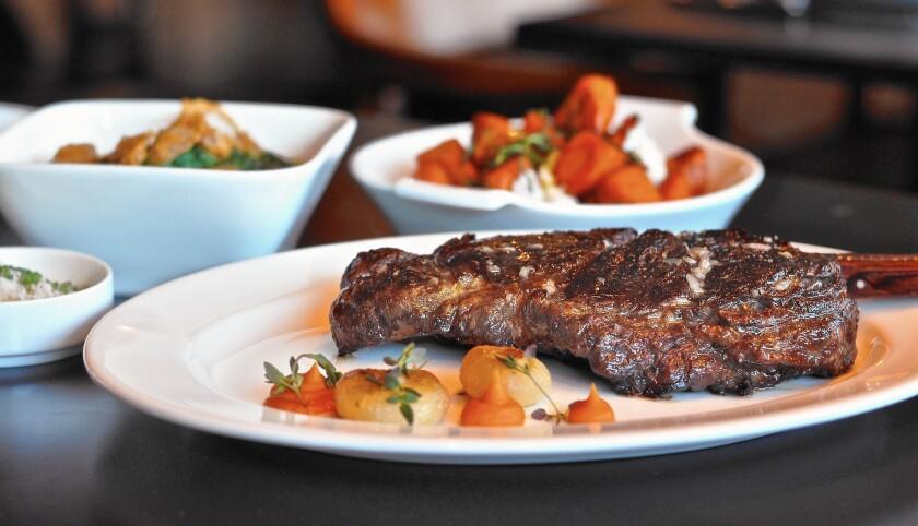 A beautifully cooked prime rib-eye stead at the Arthur J in Manhattan Beach.