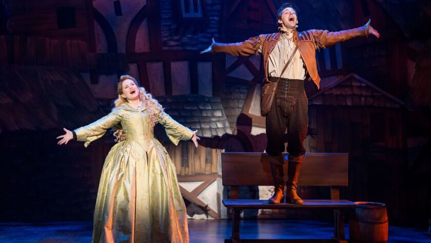 """Autumn Hurlbert and Josh Grisetti in """"Something Rotten!"""" which plays at the Ahmanson Theatre Novembe"""