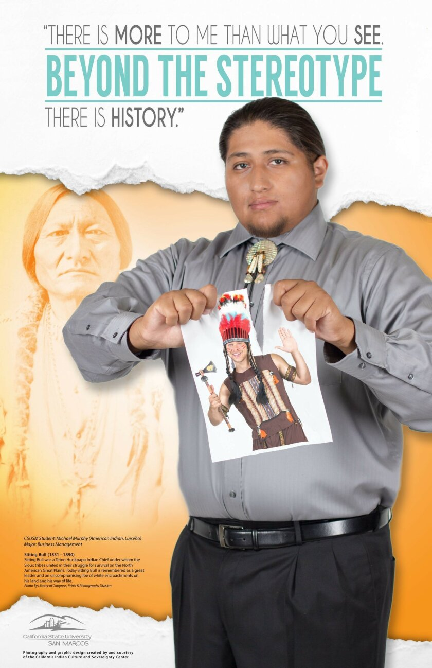 """A new series of thought provoking posters -- """"Beyond the Stereotype"""" -- will be on display through May at the Kellogg Library at California State University San Marcos, exploring contemporary issues of cultural appropriation and social justice."""