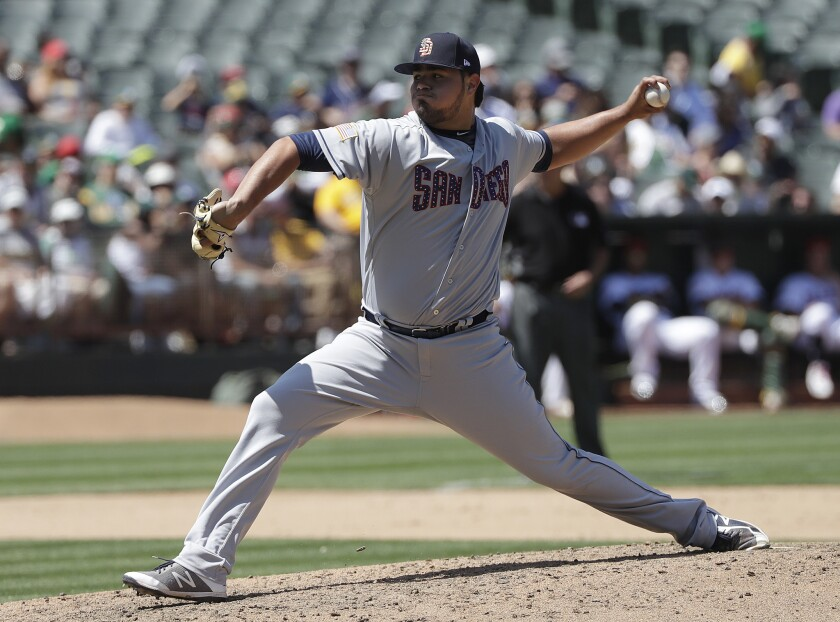 Padres reliever Jose Castillo pitches against the Oakland A's last July.
