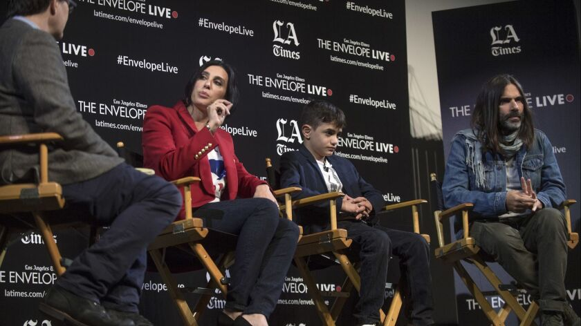 """HOLLYWOOD, CA - NOVEMBER 15, 2018: LA Times movie critic Mark Olsen,from left, discusses ?Capernaum"""""""