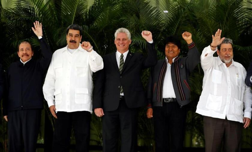(l. to r.) Nicaraguan President Danel Ortega, Venezuelan President Nicolas Maduro, Cuban President Miguel Diaz-Canel, Bolivian President Evo Morales, and St. Vincent and the Grenadines President Ralph Gonsalves pose for the official photo on Dec. 14, 2018, at the ALBA Summit in Havana. EFE-EPA