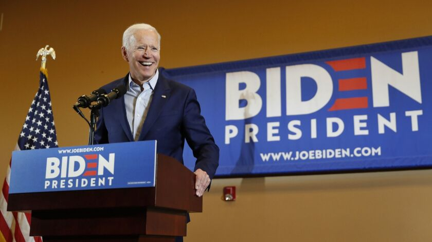 Former Vice President and Democratic presidential candidate Joe Biden speaks at a rally with members