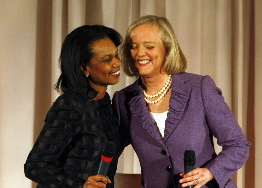 Republican gubernatorial candidate Meg Whitman and former Secretary of State Condoleeza Rice greet each other on stage to start a fundraising event at the Hyatt Regency Irvine in April 2010. They are among the high-profile personalities who have turned down chances to speak at college graduations after their selection drew scrutiny from students and faculty.