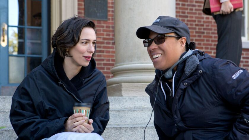 """Actor Rebecca Hall and director Angela Robinson on the set of """"Professor Marston and the Wonder Wome"""