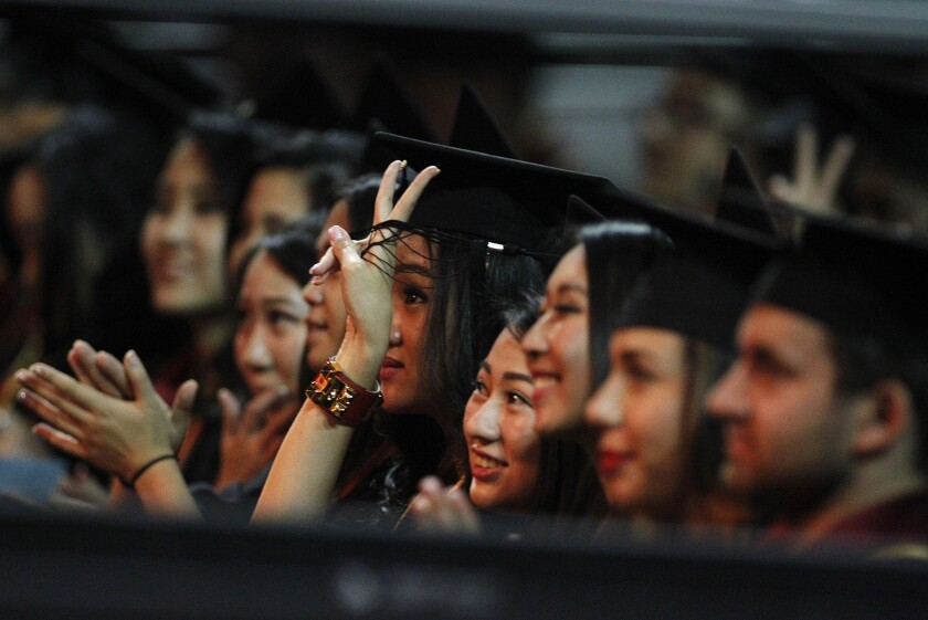 USC Marshall School of Business students at their May graduation.