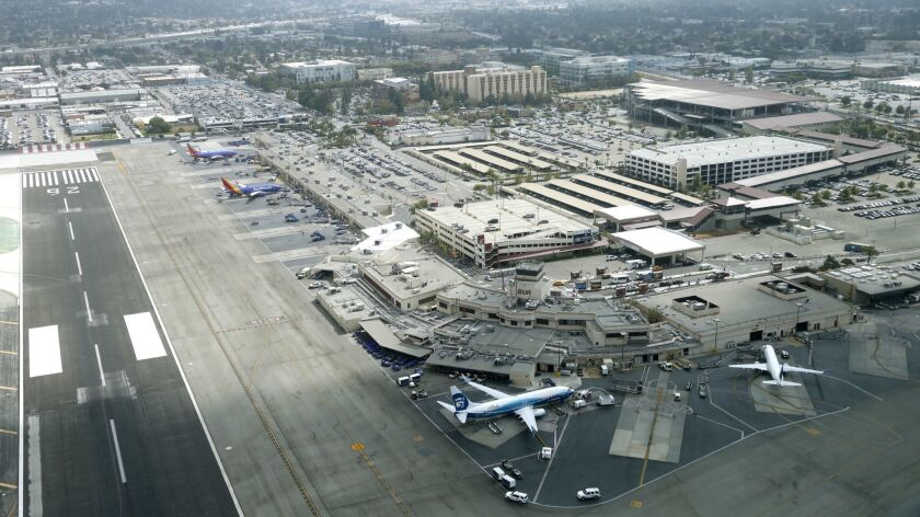 View of the Hollywood Burbank Airport as media and VIPs got to experience a flight over the San Gabr