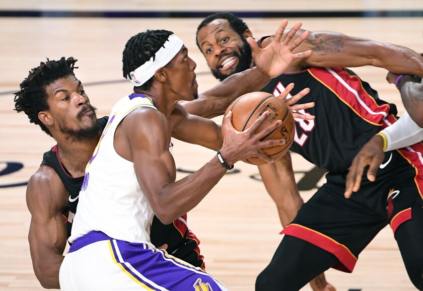 Rajon Rondo drives for a layup against the Heat during the Lakers' title-clinching Game 6 win on Oct. 11, 2020, in Orlando.