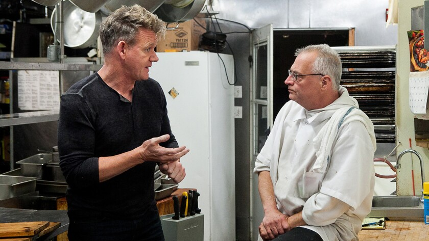 """Gordon Ramsay, left, and Louis Cilento in """"Gordon Ramsay's 24 Hours to Hell and Back"""" on Fox."""