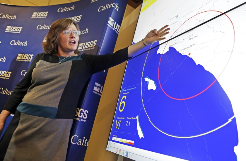 Dr. Lucy Jones, senior advisor for risk reduction for the U.S. Geological Survey, describes how an early warning system would provide advance warning of an earthquake, at a news conference at the California Institute of Technology in Pasadena.