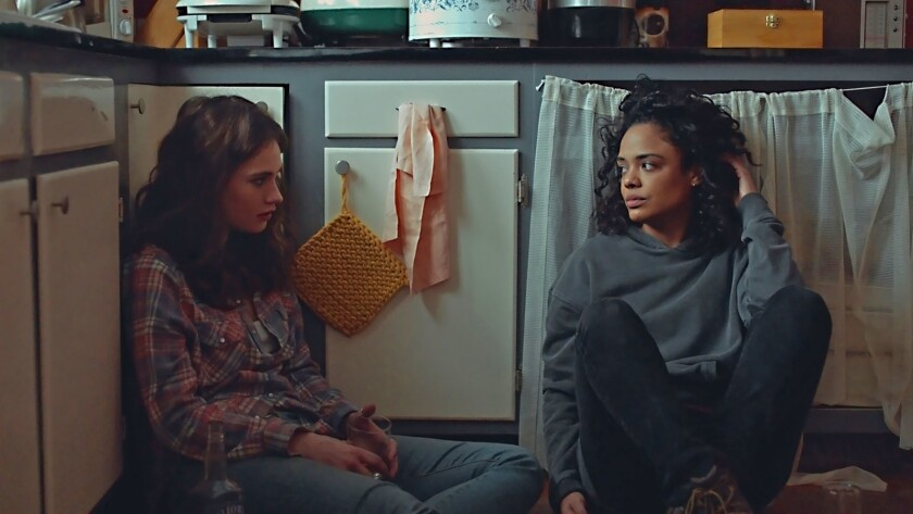 "(L-R)- Lilly James and Tessa Thompson in a scene from ""Little Woods."" Credit: Neon"
