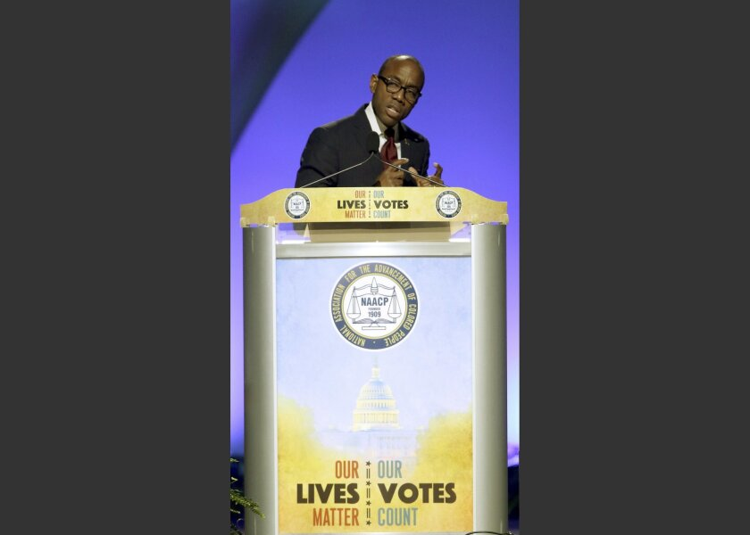 """In this Monday, July 18, 2016 photo, Cornell William Brooks, president and CEO of NAACP, speaks at the NAACP national convention at the Duke Energy Center in Cincinnati. The convention's theme of """"Our Lives Matter, Our Votes Count"""" underscored the need to defend black voting rights and to get out t"""