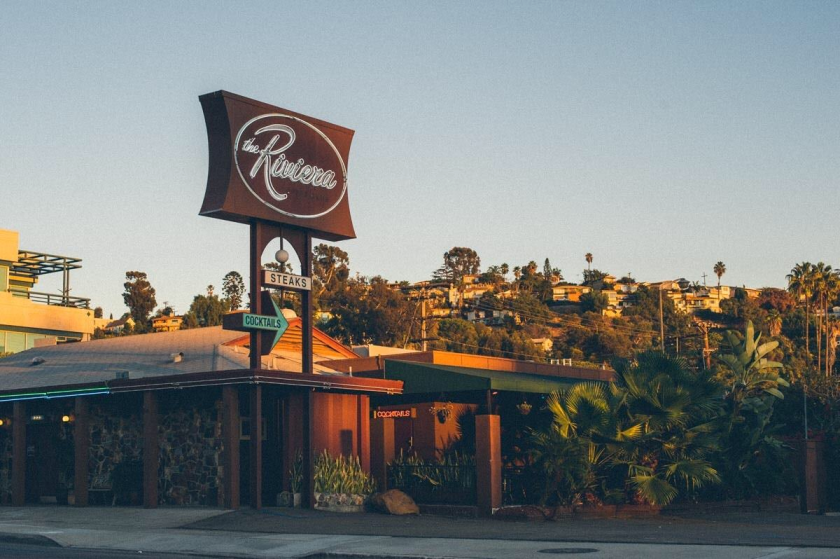 The Riviera Supper Club and Turquoise Room lounge are housed in a mid-century building on University Avenue in La Mesa.