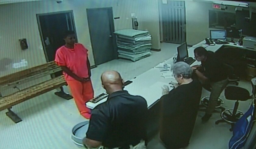 This undated image, from video provided by the Waller County Sheriff's Office, is one of the last pictures of Sandra Bland before her death in July.