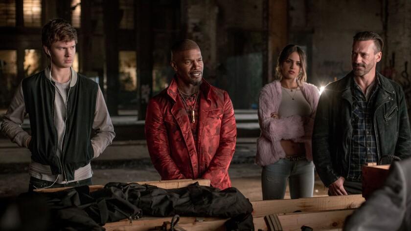 """Baby Driver's"" heist team: from left, Ansel Elgort as Baby, Jamie Foxx as Bats, Eiza Gonzalez as Da"