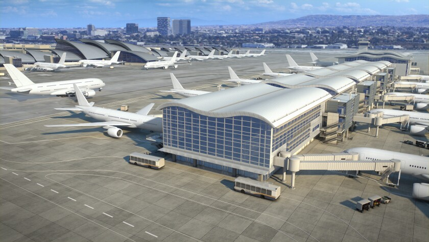 A rendering of the outside of the Midfield Satellite Terminal, currently under construction at LAX.