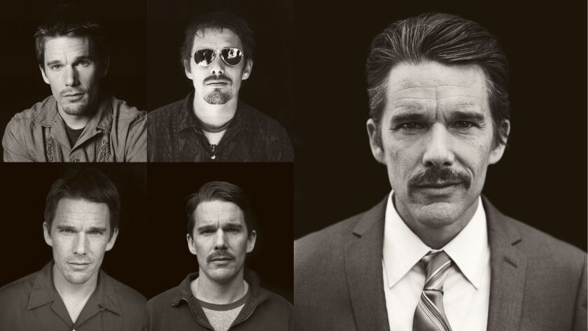 The different looks of Mason Sr. (Ethan Hawke) over the 12 years of filming in Richard Linklater's m