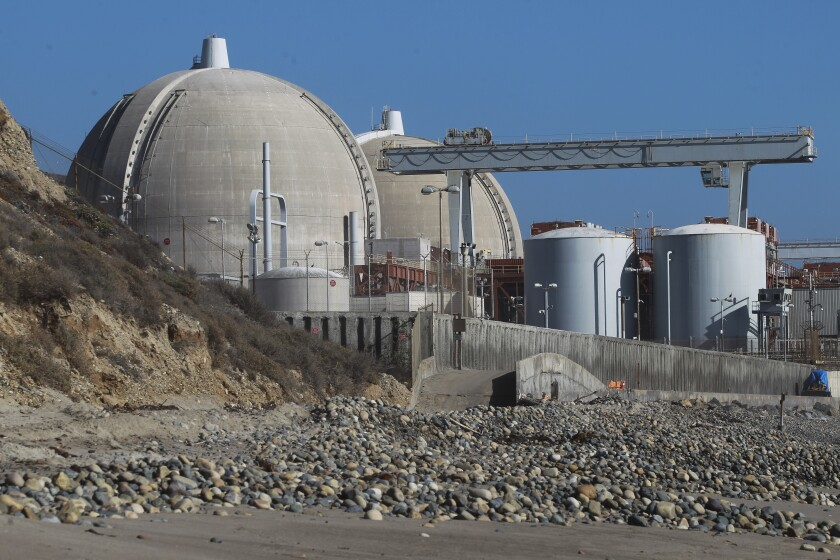 The San Onofre Nuclear Generating Station, viewed from San Onofre State Beach in October 2019.