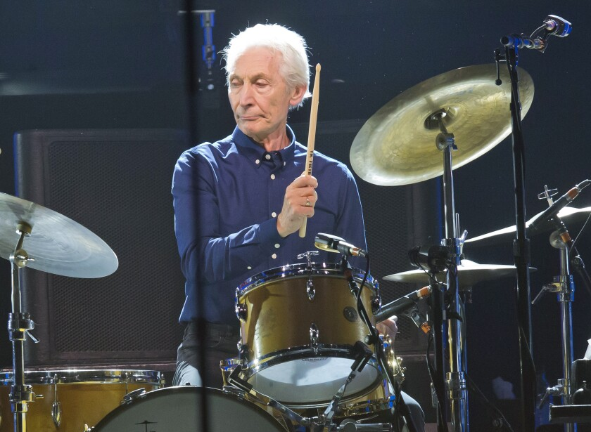 FILE - Charlie Watts, of the Rolling Stones, performs during a concert