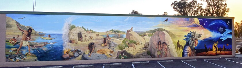 A new mural depicting Kumeyaay Native Americans by artist Simon Melnyk will be dedicated Saturday at the Verizon building.