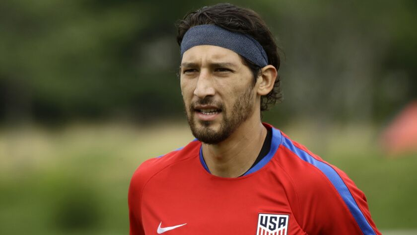 FILE - In this July 18, 2017, file photo, United States' Omar Gonzalez moves across the field to sp