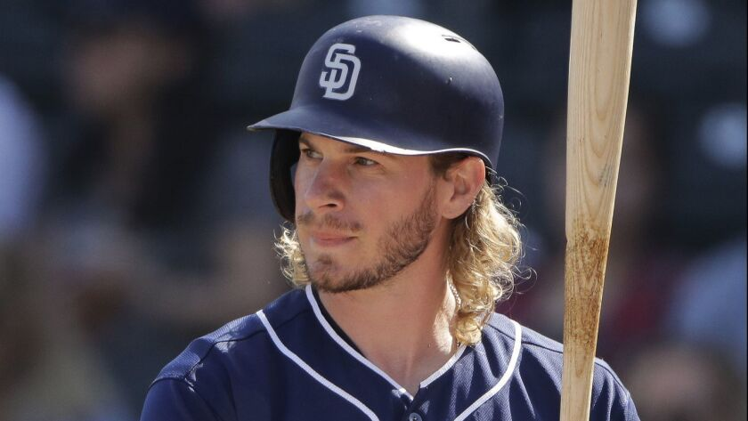 San Diego Padres' Travis Jankowski bats during the second inning of a spring training baseball game against the Kansas City Royals Thursday, Feb. 28, 2019, in Surprise, Ariz.