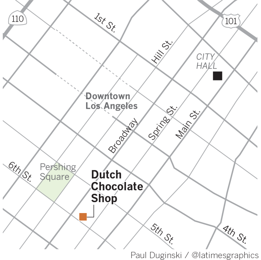 Map of Dutch Chocolate Shop in Downtown Los Angeles.