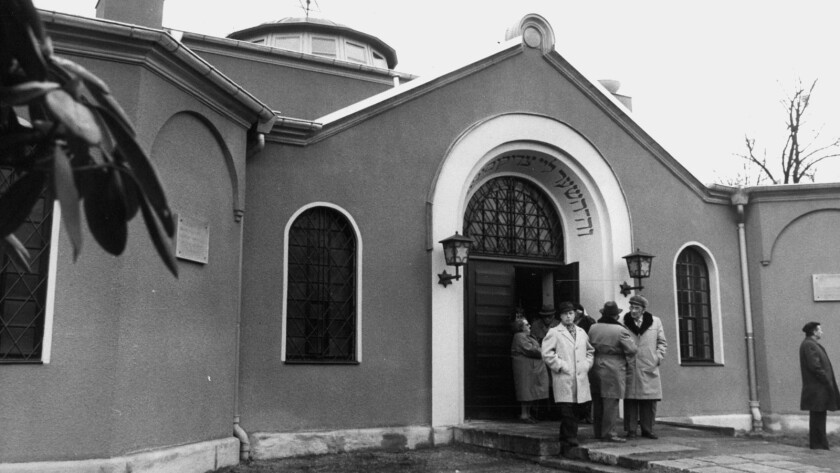 """A synagogue in Dresden, Germany, in the documentary """"Germans and Jews."""""""