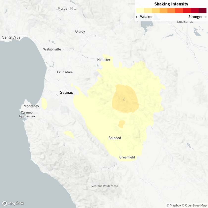 A magnitude-3.5 earthquake was reported at 12:19 p.m. near Soledad, Calif., according to the USGS.